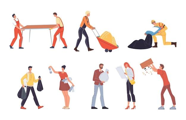 Набор векторных мультфильмов плоских промышленных рабочих персонажей на работе. инженеры на дорожном строительстве, ремонте зданий, вывозе мусора.