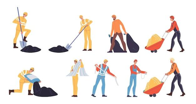 Набор векторных мультфильмов плоский промышленный рабочий на работе. инженер на дорожном строительстве ремонт, вывоз мусора работает концепция баннерной рекламы веб-сайта