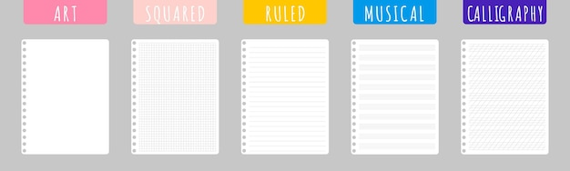 Набор векторных карикатурных иллюстраций с чистыми листами ноутбука на белом фоне.