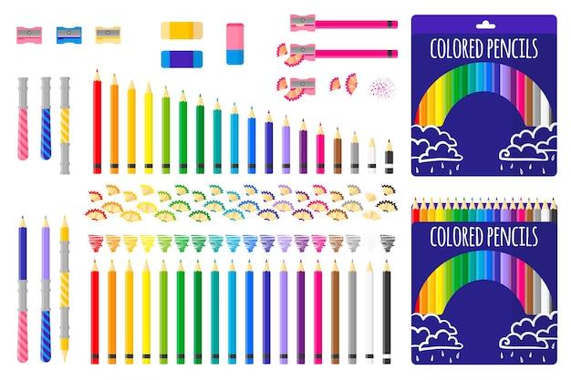 Набор векторных карикатурных иллюстраций с цветными карандашами, точилкой для карандашей и ластиком на белом фоне.