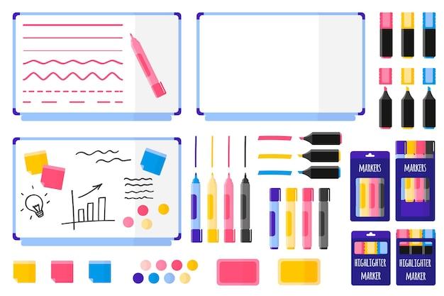 Набор векторных мультипликационных иллюстраций с магнитной доской, цветными маркерами, губкой, наклейками, магнитами на белом фоне