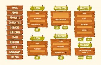 Set of vector cartoon illustrations wooden signs, gui design elements