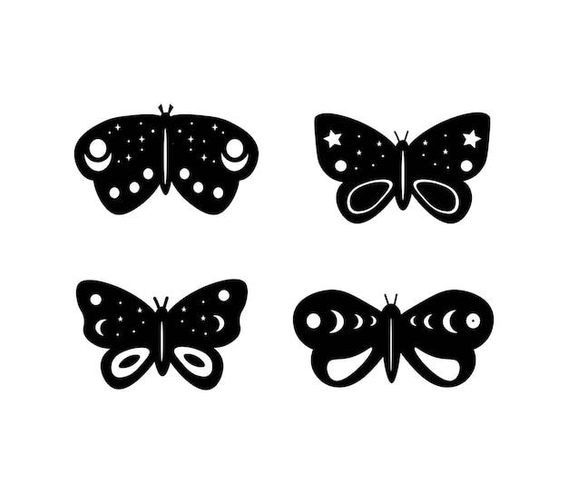 벡터 하늘 나비 세트