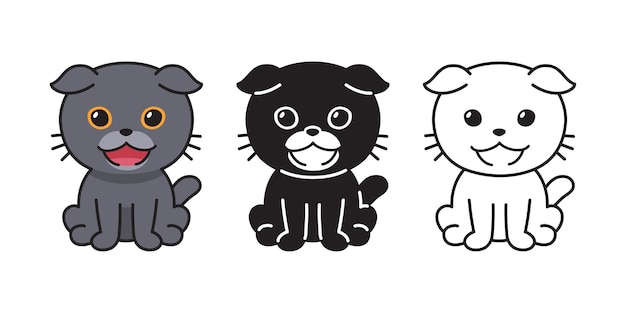デザインのためのベクトル文字漫画スコティッシュフォールド猫のセットです。