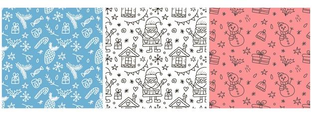 サンタクロース雪だるまと落書きスタイルのベクトルイラストのベクトルクリスマスパターンのセット