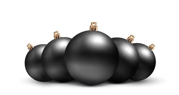 リアルなスタイルのベクトルクリスマスおもちゃのセットです。白い背景で隔離の黒いボール。ブラックフライデーの割引 Premiumベクター