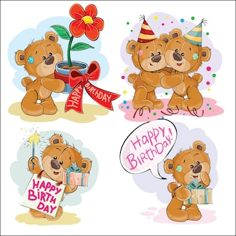 Set of vector clip art illustrations of brown teddy bear wishes you a happy birthday.