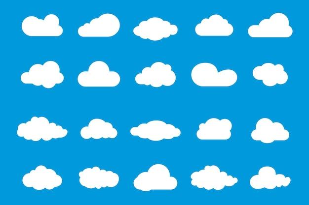 ベクトルクラウドアイコンのセットです。 webサイトのデザイン、ロゴ、アプリ、uiのクラウドシンボル。別の空のセット。青い雲のアイコン、雲の形。