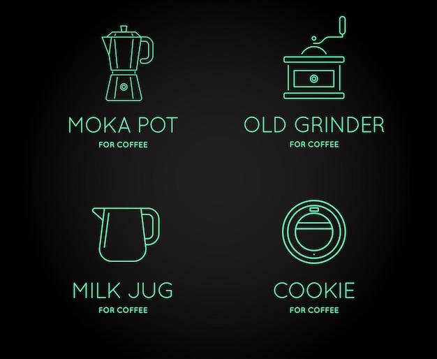 文字記号付きのベクトルコーヒーアクセサリーアイコンのセットは、ロゴタイプとして使用できます