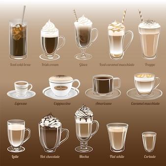 ベクトルコーヒーイラストのセットです。アイスコールドブリュー、アイリッシュクリーム、グレース、フラッペ、エスプレッソ、カプチーノ、アメリカーノ、キャラメルマキアート、ラテ、ホットチョコレート、モカ、フラットホワイト、コルタード