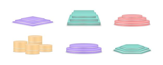 製品プレゼンテーションのためのベクトルカラフルな表彰台の台座またはプラットフォームの背景のセット