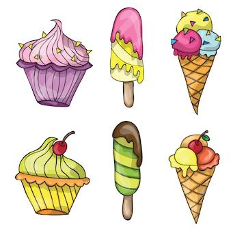 벡터 다채로운 맛 있는 고립 된 만화 아이스크림 세트