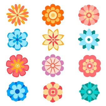 평면 스타일에 벡터 장식 꽃 아이콘의 집합입니다. 봄 꽃 실루엣 컬렉션. 꽃 클립 아트 그림입니다.