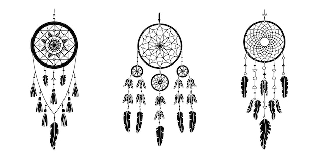 Набор векторных dreamcathers в стиле бохо. мистические интерьеры. простой стиль