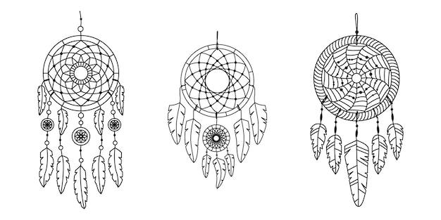 Набор векторных dreamcathers в стиле бохо. мистические интерьеры.