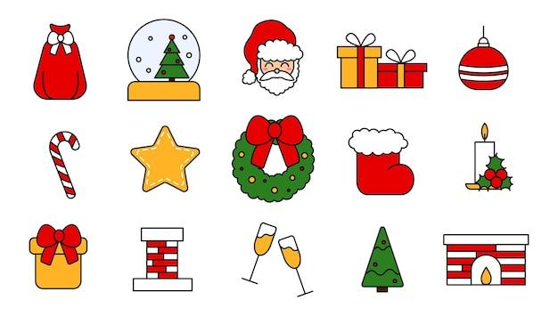 크리스마스 축하를 위한 벡터 요소 집합입니다. 평면 스타일에서 편집 가능한 크리스마스와 새 해 아이콘의 컬렉션입니다. 빨간색, 노란색 및 녹색의 빈티지 전통 스티커. 벡터 일러스트 레이 션.