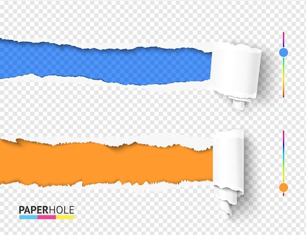 찢어진 구멍 가장자리와 그림자가있는 스크롤 찢어진 종이 조각으로 웅크 리고 빈 벡터 세트
