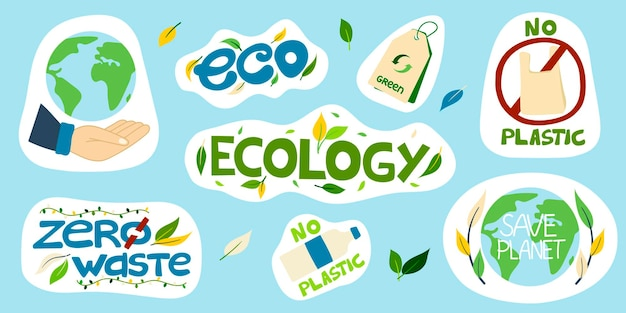 Набор векторных экологических наклеек с надписями без пластика спасти планету экология эко