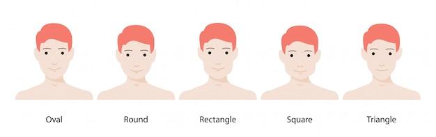 Набор векторных фигур лица. овал, треугольник, круг, квадрат, прямоугольник. разные типы мужских лиц.