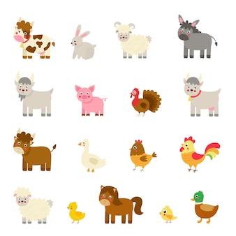 Набор векторных сельскохозяйственных животных в мультяшном стиле. коллекция детских иллюстраций.