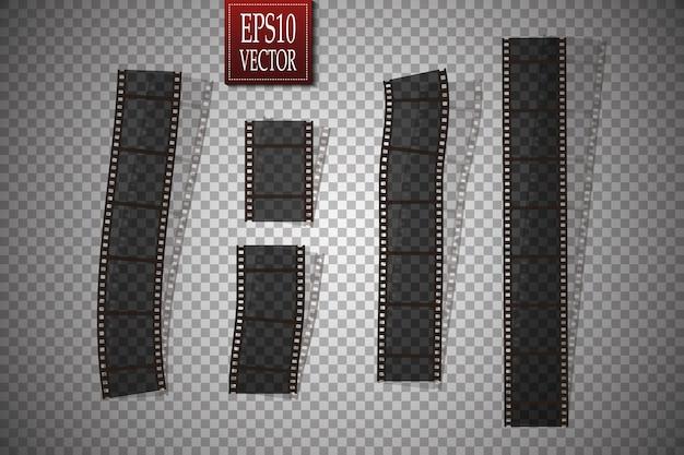 透明な背景に分離されたベクトルフィルムストリップのセット