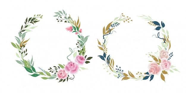 장미 꽃과 잎 벡터 꽃 화 환 세트