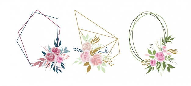 バラの花と葉を持つベクトルの幾何学的な花の花輪のセット