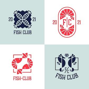 벡터 기하학적 해산물, 해산물, 생선, 새우의 상징 세트.