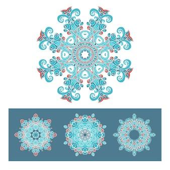 ベクトルグラフィック抽象的なダマスク織の装飾的なデザインのセットです。豪華なロイヤルパターン。ヴィンテージデザインの装飾タイル。ダマスクベクトルパターン。エレガントな花の抽象的な要素