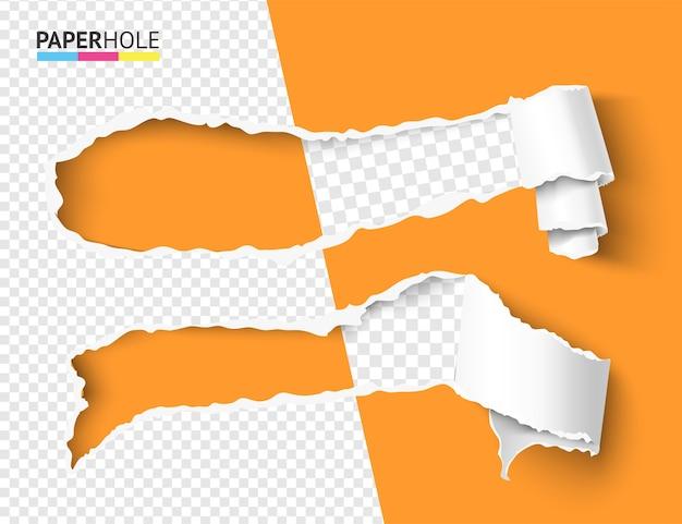 Набор векторных полупустых скрученных рваных кусочков бумаги в свиток с рваными краями отверстия
