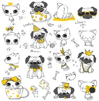 어린이 인사말 카드 디자인, 티셔츠 인쇄, 영감 포스터를 위한 간단한 디자인으로 벡터 손으로 그린 귀여운 고양이와 개 세트.