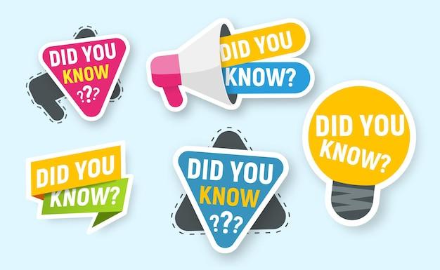 벡터 아이콘 세트 교육 광고 또는 그 이상을 위한 격리된 배지를 알고 계셨습니까?
