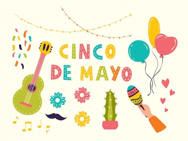 Набор векторных иконок для синко де майо
