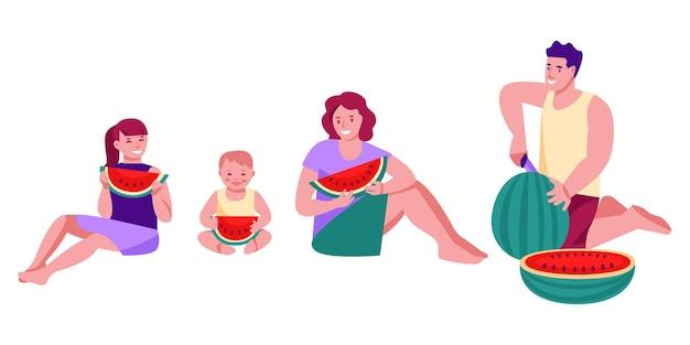 수박을 먹는 벡터 일러스트 레이 션 가족의 집합입니다. 아버지, 어머니, 딸, 아기. 평면 만화 스타일의 그림입니다. 흰색 배경에 고립.