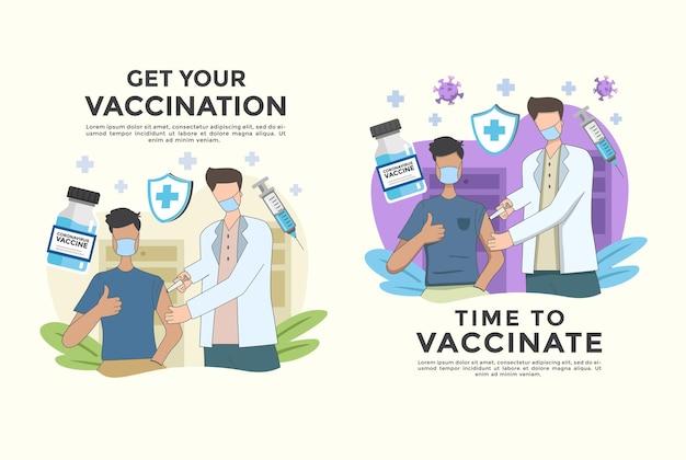 ベクトルイラストのセットは、19コロナウイルスの人々がウイルスとワクチン接種と戦うcovidと戦う