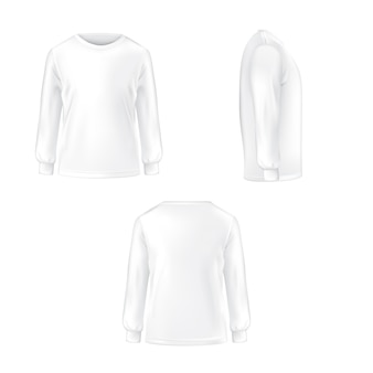 Set of vector illustration of a white T-shirt with long sleeves.