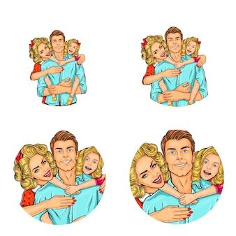 Набор векторных иллюстраций, поп-арт круглых значков аватаров