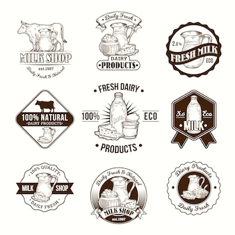 乳製品、乳製品のベクトルイラスト、バッジ、ステッカー、ラベル、ロゴ、スタンプのセット