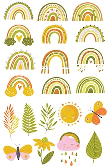 Набор векторных иллюстраций симпатичные радуги в простом стиле зеленые желтые оранжевые оттенки листья бабочки радуги