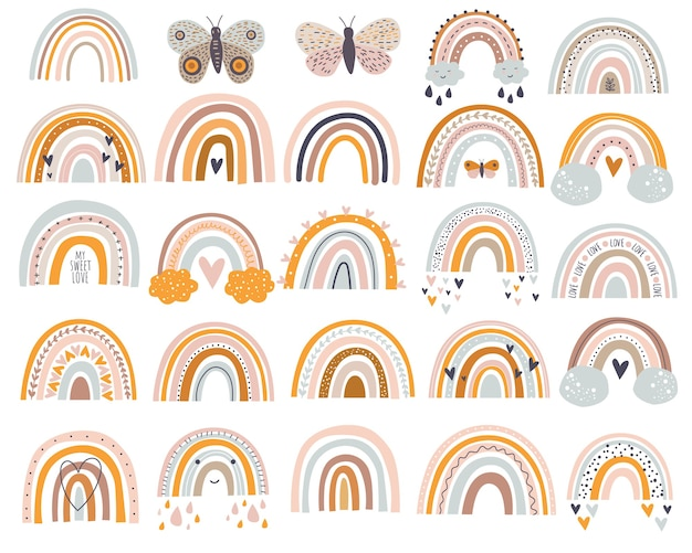 벡터 일러스트 세트 간단한 스타일 파스텔 색상의 귀여운 무지개