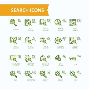 分析、情報の検索のベクトルイラスト細線アイコンのセット。 32x32および16x16ピクセルの完璧
