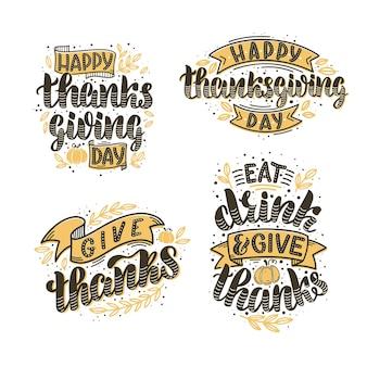 Набор векторных иллюстраций на день благодарения. рисованные надписи для открыток, наклеек, баннеров и плакатов. уютный дизайн для праздничных мероприятий.