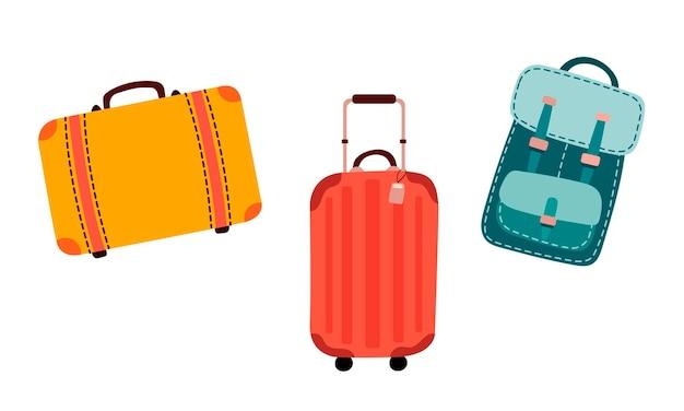 빨간색과 노란색 여행가방과 평평한 스타일의 배낭이 있는 여행을 위한 벡터 그림 세트