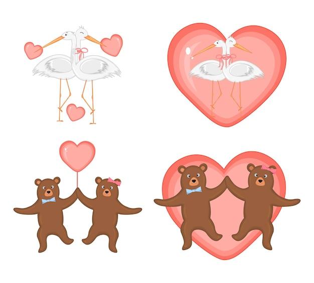 Набор векторных иллюстраций на день святого валентина.