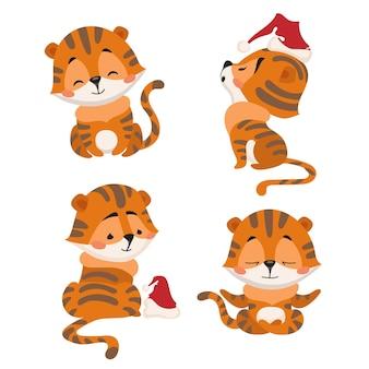 Набор векторных иллюстраций мультяшных китайских тигрят в новогодних шапках
