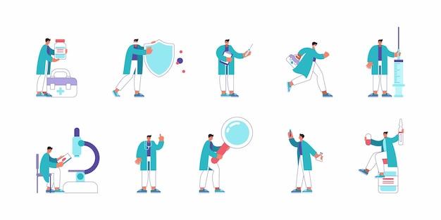 Набор векторных иллюстраций мультипликационных практикующих врачей, использующих различные инструменты и выполняющих различные действия во время работы в современной больнице