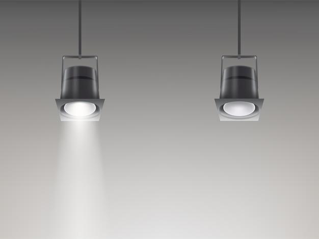 Набор векторных иллюстраций потолочных светильников.