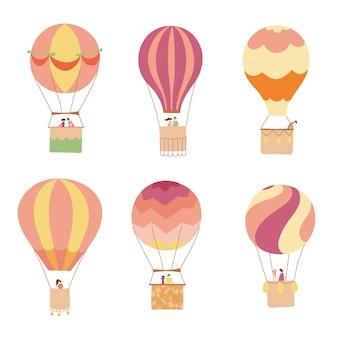 Набор векторных иллюстраций набросков воздушный шар на небе