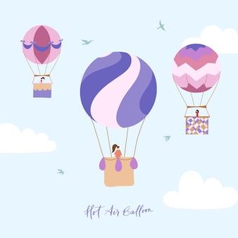 空の概要熱気球のベクトルイラストのセット