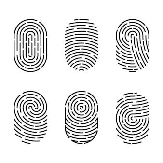 보안 지문 인증의 벡터 일러스트 세트입니다. 손가락 신원, 기술 생체 인식 그림입니다. 지문 템플릿 컬렉션입니다.